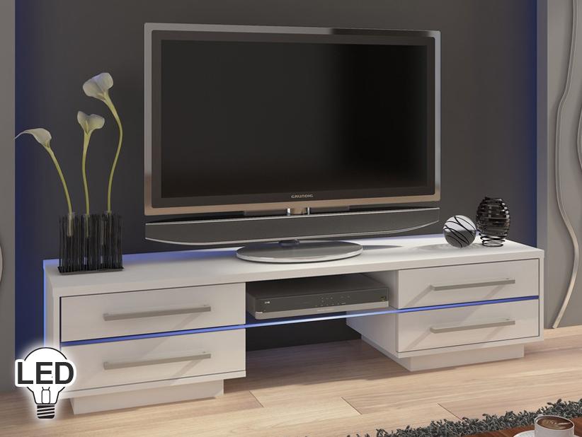 TV stolík/skrinka - WIP - Laguna (biela + lesk biely)