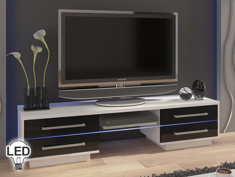 TV stolík/skrinka - WIP - Laguna (biela + lesk čierny)