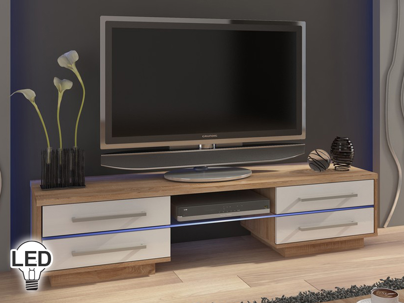 TV stolík/skrinka - WIP - Laguna (sonoma svetlá + lesk biely)
