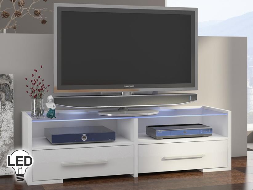 TV stolík/skrinka - WIP - Semprio (biela + lesk biely)