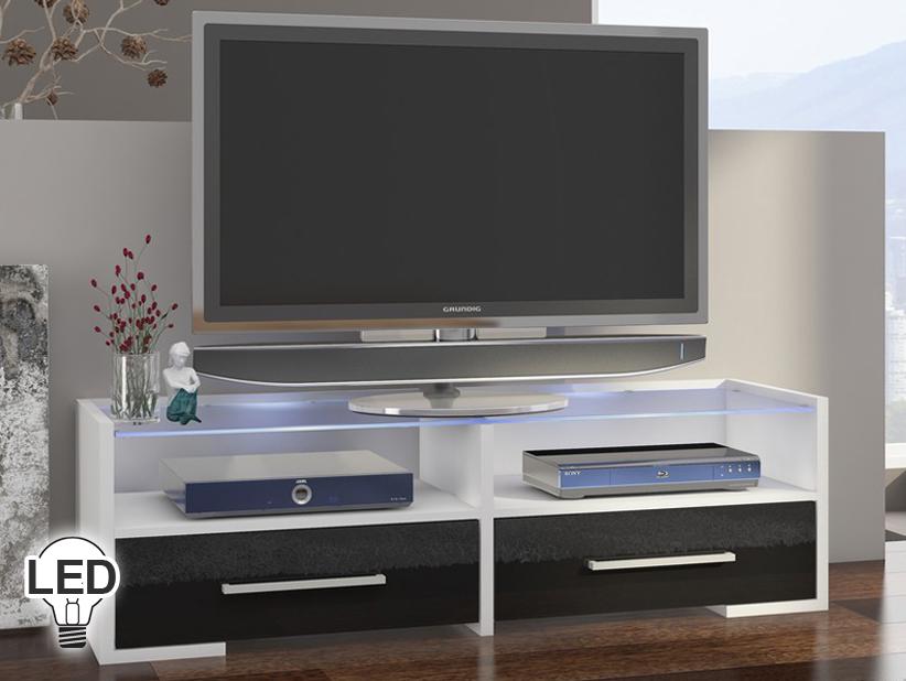 TV stolík/skrinka - WIP - Semprio (biela + lesk čierny)