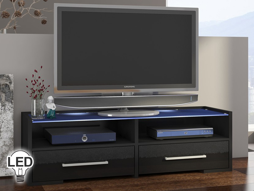 TV stolík/skrinka - WIP - Semprio (čierna + lesk čierny)