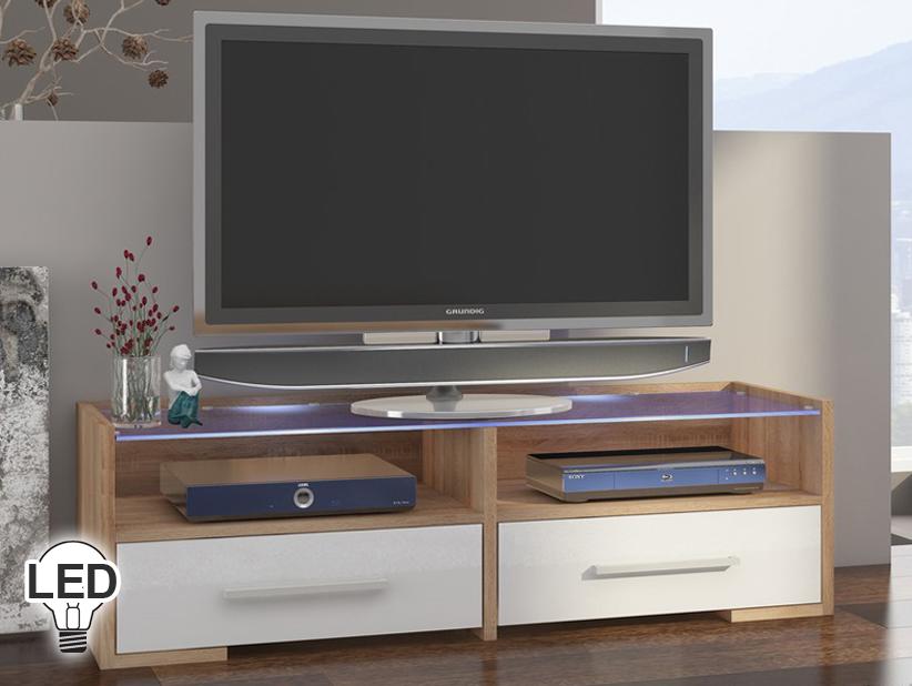 TV stolík/skrinka - WIP - Semprio (sonoma svetlá + lesk biely)