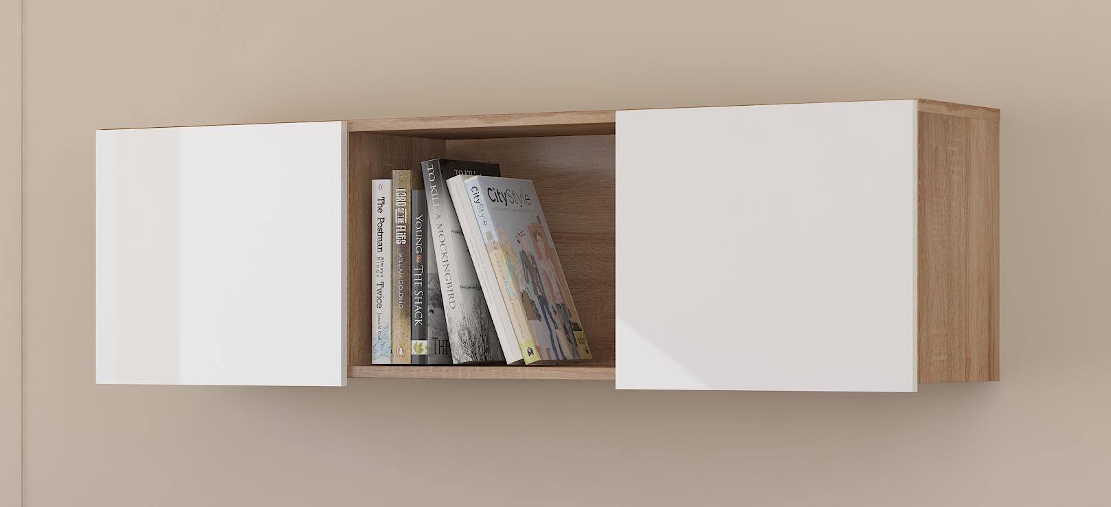 Polička - WIP - Uno dub sonoma svetlý + lesk biely. Sme autorizovaný predajca WIP. Vlastná spoľahlivá doprava až k Vám domov.