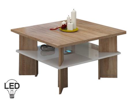 Konferenčný stolík Vectra 1 (sonoma svetlá + lesk biely)
