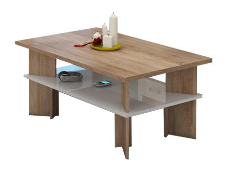 Konferenčný stolík Vectra 2 (sonoma svetlá + lesk biely)