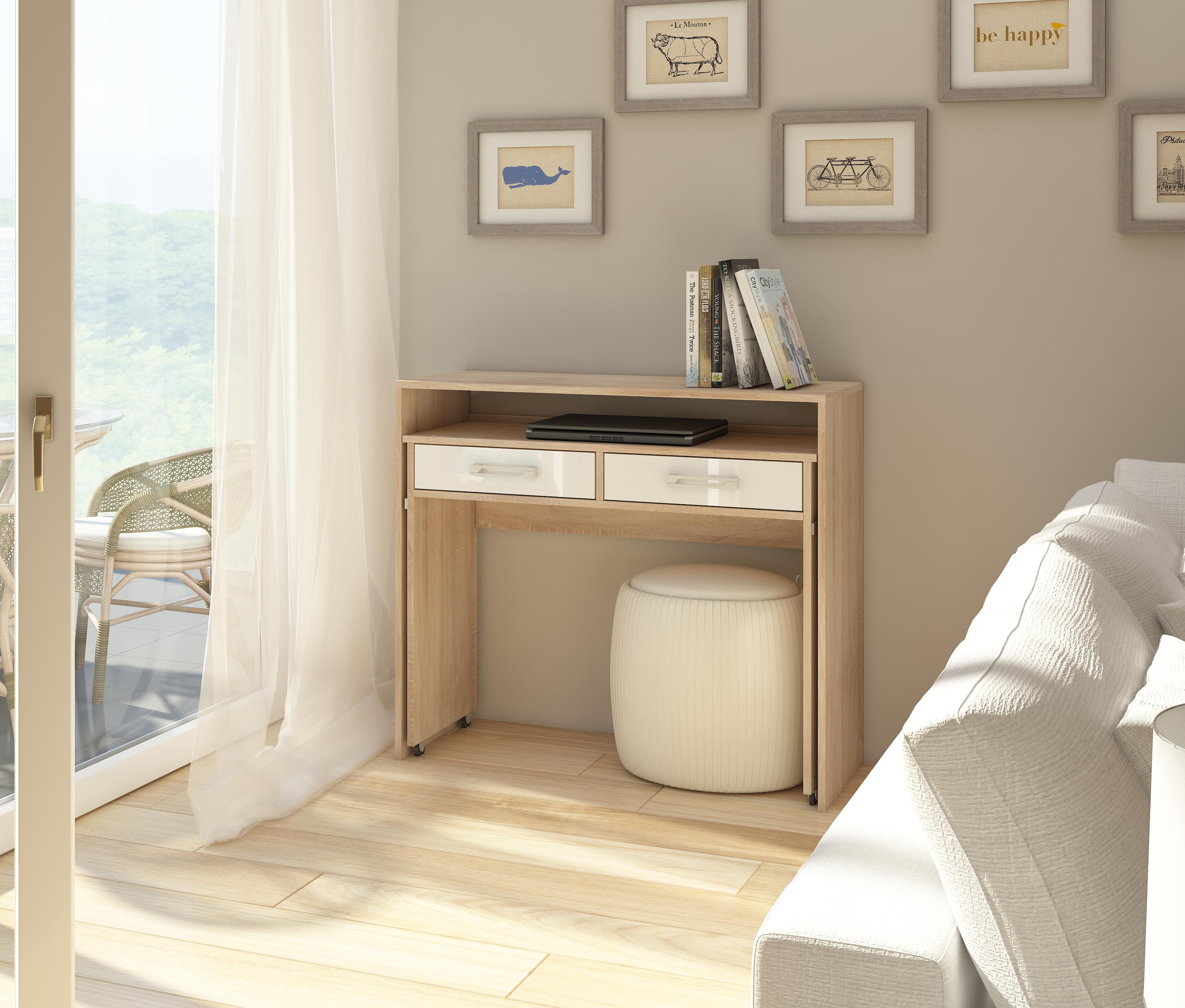 PC stolík - WIP - Zoom dub sonoma svetlý + lesk biely. Sme autorizovaný predajca WIP. Vlastná spoľahlivá doprava až k Vám domov.