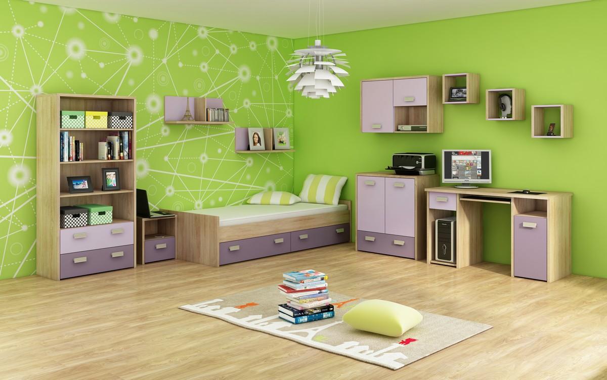 Študentská izba - WIP - Kitty 3 Sonoma svetlá + fialová